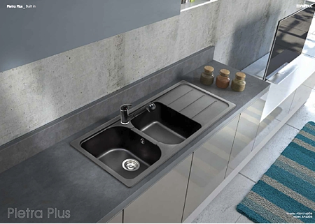 Lavello fragranite incasso cucina apell ptsh1162gb 116x50 2v gocc nero - Lavello cucina in pietra ...