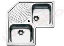 lavello cucina acciaio angolo cm83x83 2 vasche e gocciolatoio