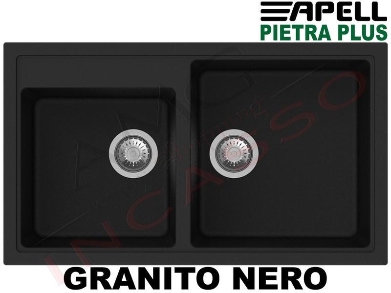 Lavello Cucina New Pietra Plus 2 Vasche cm.86X50 Fragranite Nero ...