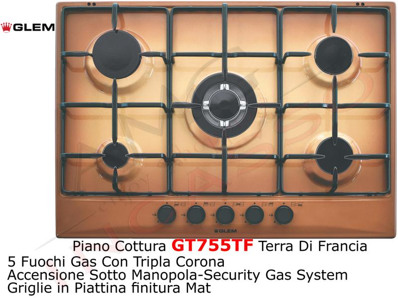 Piano Cottura cm.70 GT755TF 4 Fuochi + 1 Tripla Corona AE/VS Griglie ...