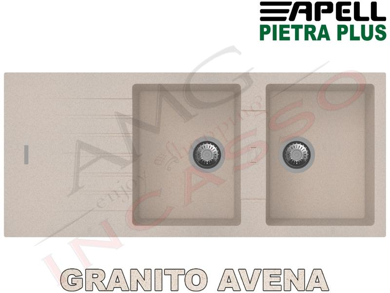 Lavello Cucina New Pietra Plus 2 Vasche cm.116X50 Fragranite Avena