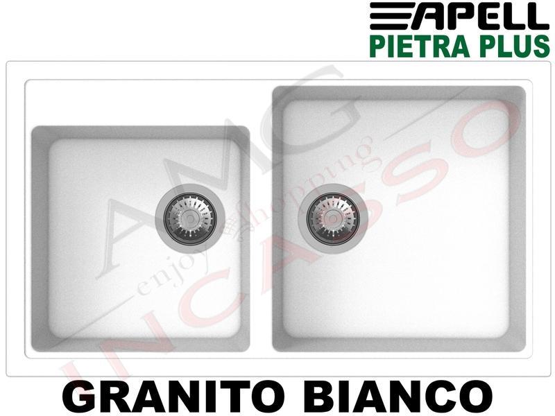 Lavello Cucina Fragranite Bianco.Lavello Cucina New Pietra Plus 2 Vasche Cm 86x50 Fragranite Bianco