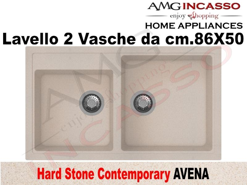Lavello Cucina Contemporary 2 Vasche cm.86X50 Fragranite Avena