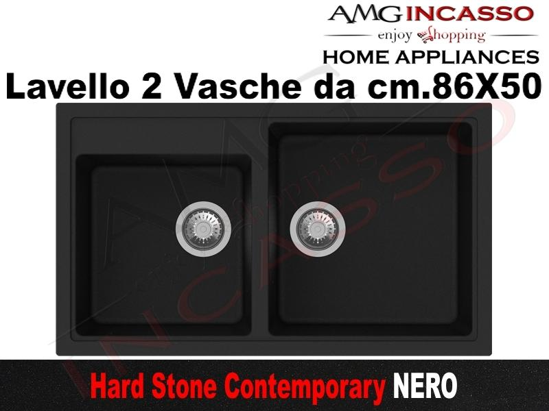 Lavello Cucina Contemporary 2 Vasche cm.86X50 Fragranite Nero | AMG ...