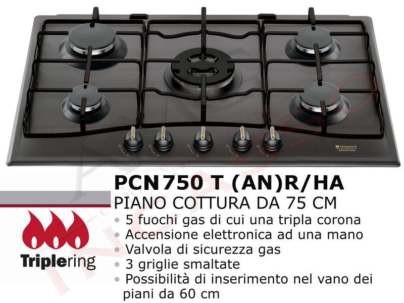 Piano Cottura Cucina Tradizione 5 Fuochi Gas cm.75 Antracite   AMG ...