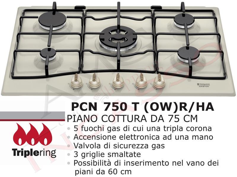 Piano Cottura Cucina Tradizione 5 Fuochi Gas cm.75 Bianco Antico [PC ...