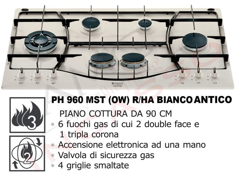 Piano Cottura Hotpoint 90 PH960MSTOWR/HA 6 Fuochi Bianco Antico ...