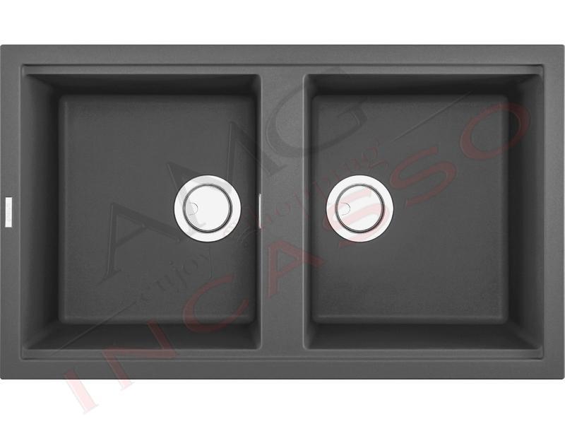 Lavello Cucina Best 2 Vasche Cm 86x51 Keratek K99 Dark Grey Amg Incasso Elettrodomestici Da Incasso