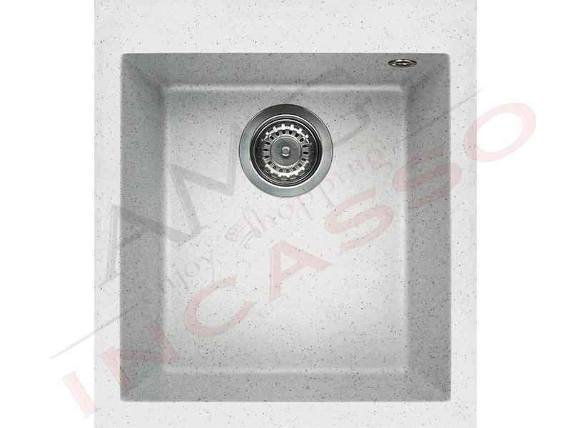 Lavello Cucina 1 Vasca cm.41X50 Quadra Granitek® G52 Bianco Pietra ...