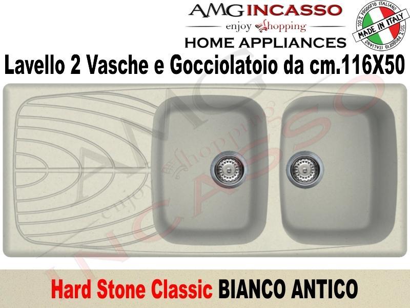 Lavello Cucina Classic 2 Vasche cm.116X50 Fragranite Bianco Antico ...