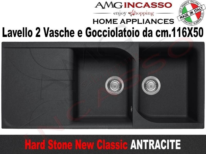 Lavello Cucina Classic New 2 Vasche cm.116X50 Fragranite Antracite