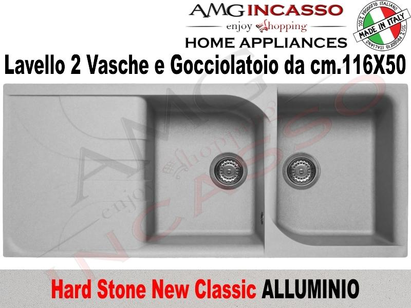 Lavello Cucina Classic New 2 Vasche cm.116X50 Fragranite Alluminio