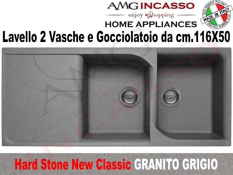 Lavello Incasso Cucina Fragranite Nero cm.116X50 2 Vasche e Gocciolatoio