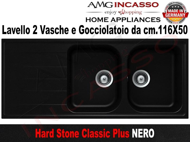 Lavello Cucina Classic Plus 2 Vasche cm.116X50 Fragranite Nero