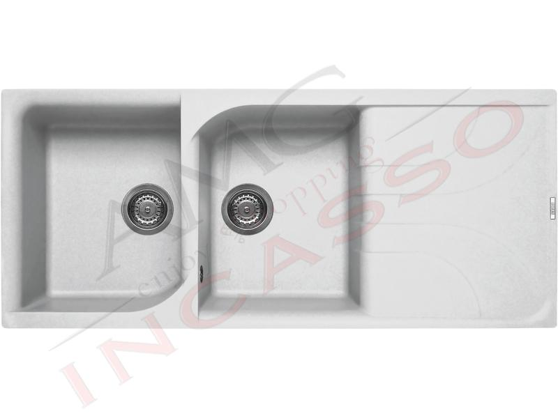 Lavello Cucina 2 Vasche cm.116X50 Ego Granitek® G68 Bianco Titano ...