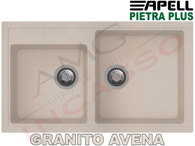 Lavello Cucina New Pietra Plus 2 Vasche cm.86X50 Fragranite Avena ...