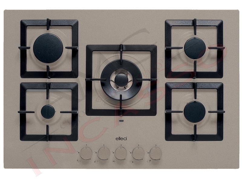 Piano Cottura Cucina Plano 5 Fuochi Gas cm.75 Griglie in Ghisa Tortora