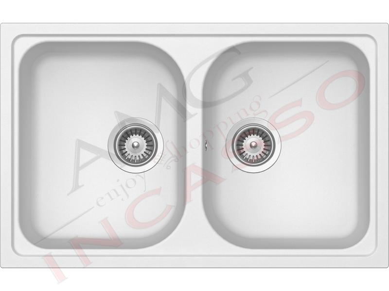 Lavello Cucina 2 Vasche Lithos Cristalite® cm.79x50 Bianco ...