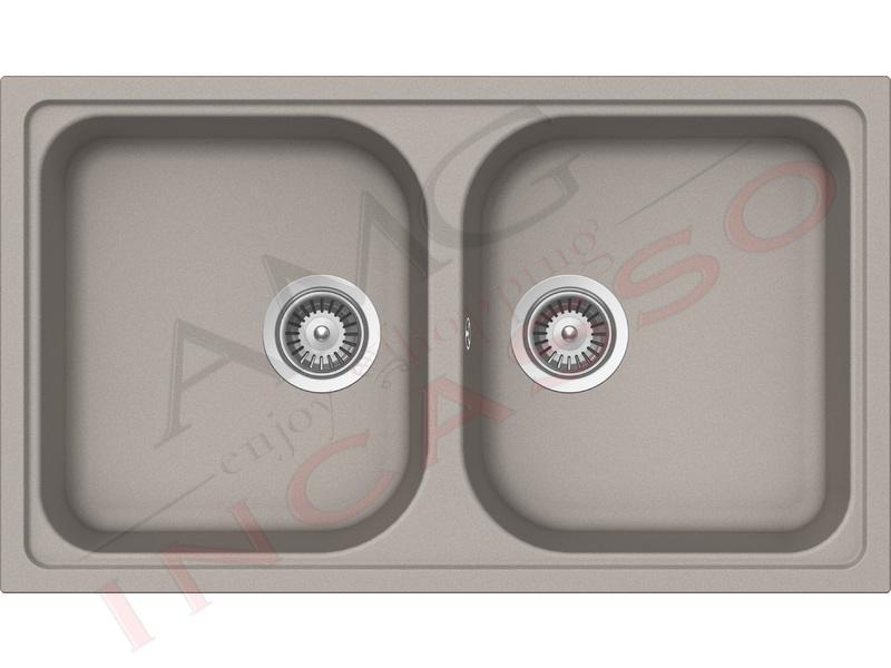 Lavello Cucina 2 Vasche Lithos Cristalite® cm.86x50 Grigio Tortora ...