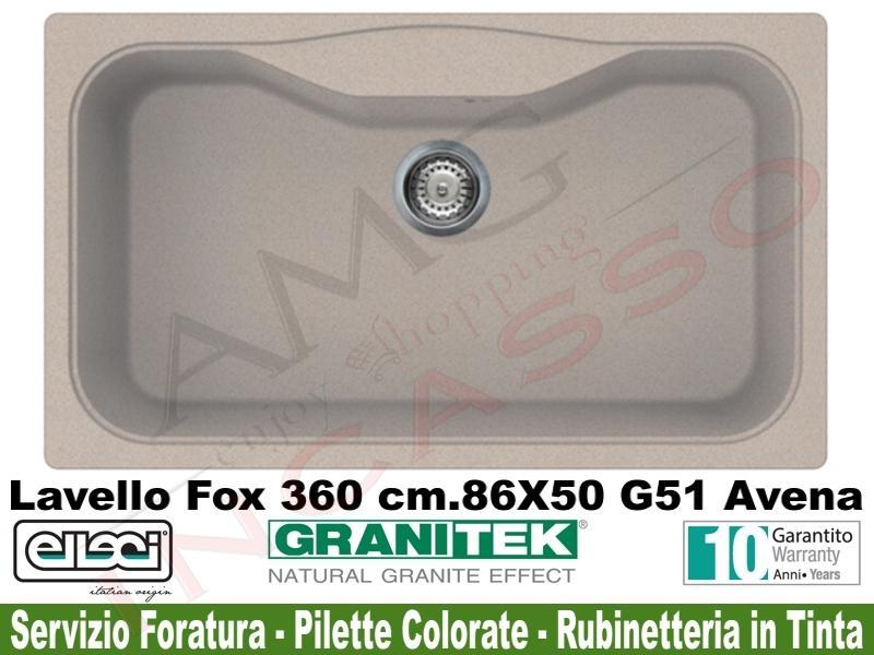 Lavello Cucina Fox 360 1 Vasca cm.86X50 Granitek® G51 Avena