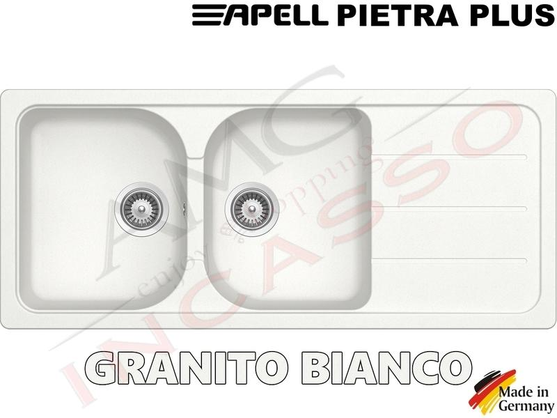 Lavello Cucina Fragranite Bianco.Lavello Cucina Pietra Plus 2 Vasche Cm 116x50 Fragranite Bianco