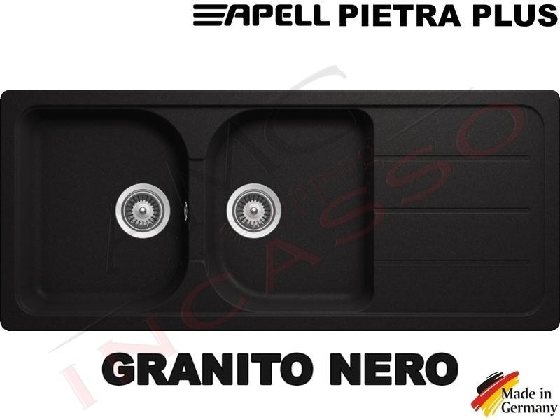 Lavello Cucina Pietra Plus 2 Vasche cm.116X50 Fragranite Nero