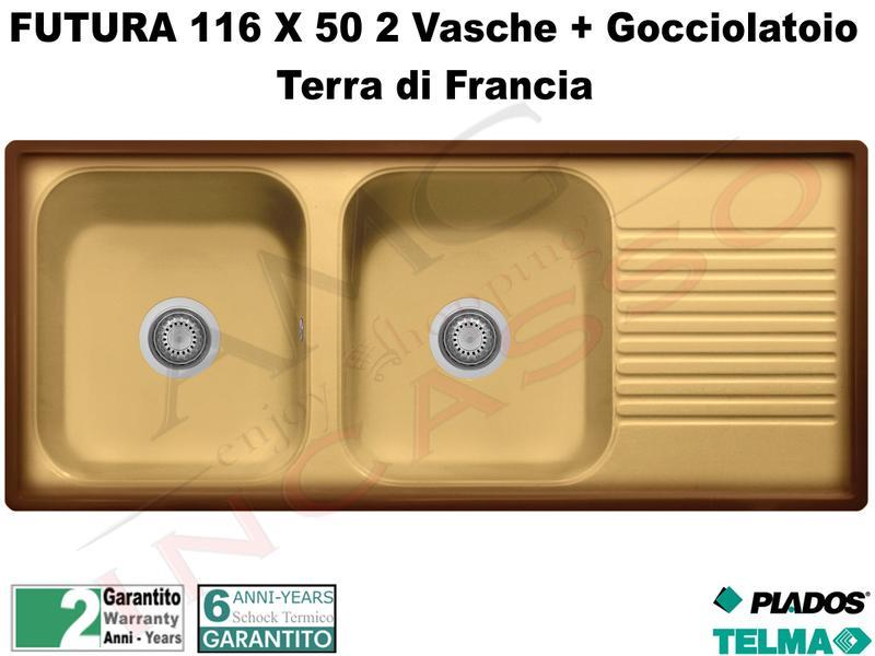 Lavello Plados Telma Futura 116X50 2 V + Gocc. Terra di Francia