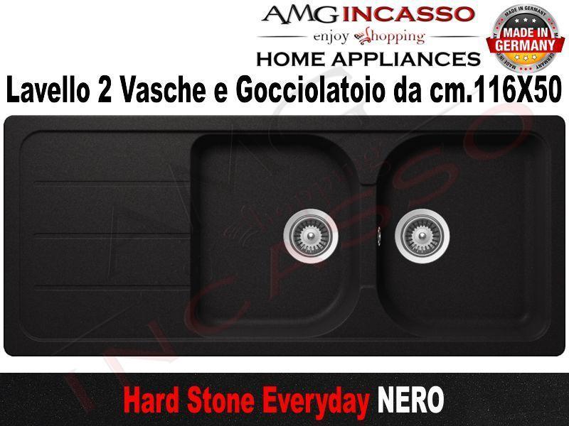 Lavello Cucina Everyday 2 Vasche cm.116X50 Fragranite Nero