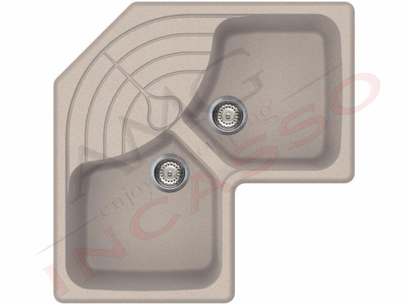 Lavello angolare Elleci Master CORNER LGMCOR51 83X83 2 vasche con ...