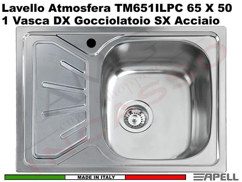 Lavello Cucina Atmosfera 1 Vasca Destra Cm 65x50 Acciaio Inox Prelucido Amg Incasso Elettrodomestici Da Incasso