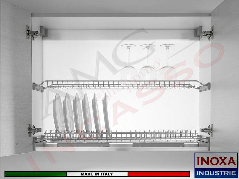 Kit Scolapiatti cm. 45 701/45XP1 Inox + 4 Staffe Art 901
