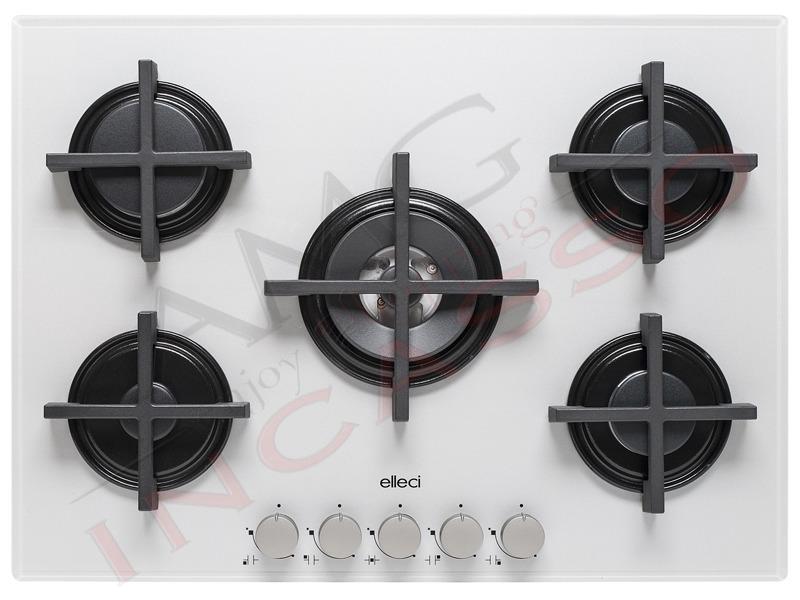 Piano Cottura Cucina Quadro 5 Fuochi Gas cm.70 Griglie in Ghisa ...