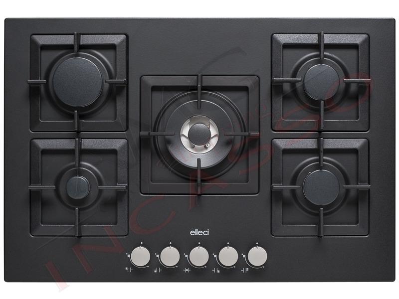 Piano cottura cucina plano 5 fuochi gas griglie in ghisa nero full black amg incasso - Cucina in ghisa ...
