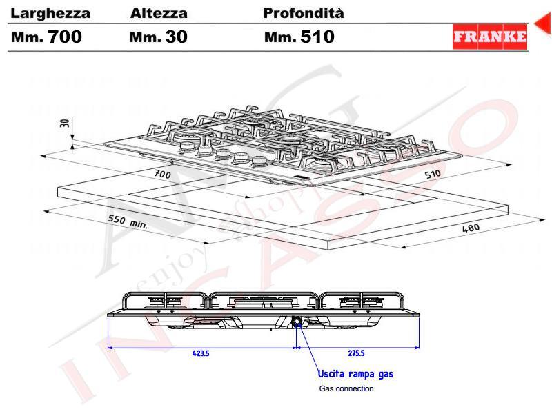 Piano cottura 70 franke multi cooking mr fhmr 705 4g tc co - Valvola sicurezza piano cottura ...