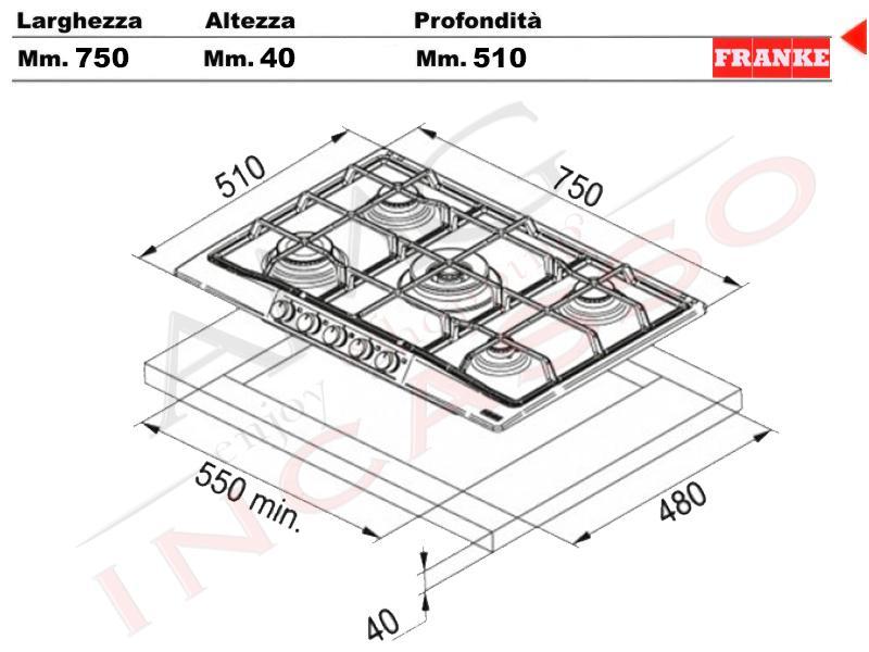 Piano Cottura Franke Cm.75 Trend Line Cm.75 FHTL 755 4G TC OA C ...