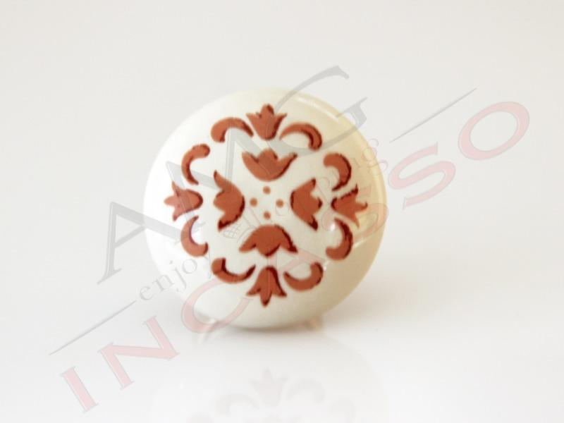 Pomolo pomello 669 77 vietri beige porcellana ceramica rotondo ba ottone lucido amg incasso - Pomelli ceramica per cucina ...