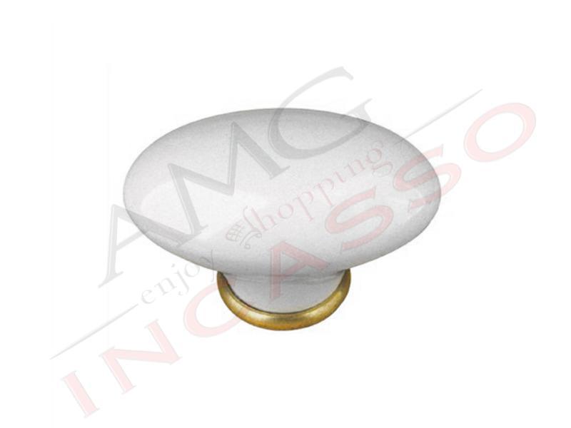 Maniglia pomello pomolo cominfer 670 00 porcellana bianca ottone lucido in porcellana ceramica - Maniglie porcellana cucina ...