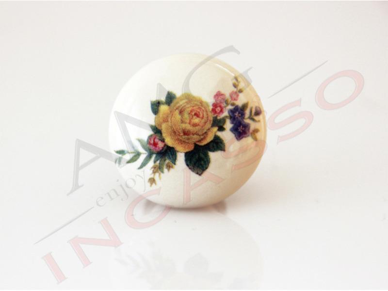 Pomolo pomello 669 11 fiore giallo porcellana ceramica rotondo antico amg incasso - Maniglie porcellana cucina ...
