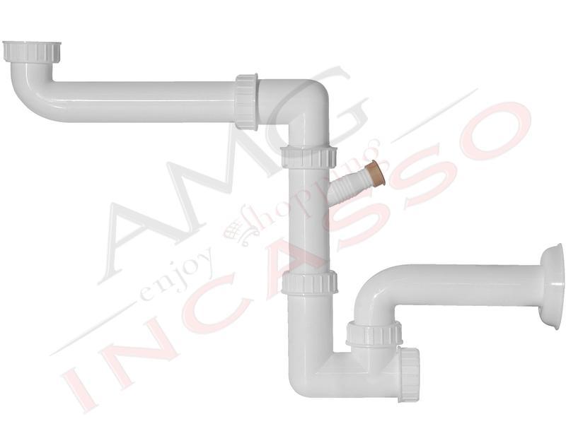 Sifone 1 via ispezionabile l b plast 710 amg space sever con attacco lavastoviglie e uscita a - Scarico lavello cucina ...