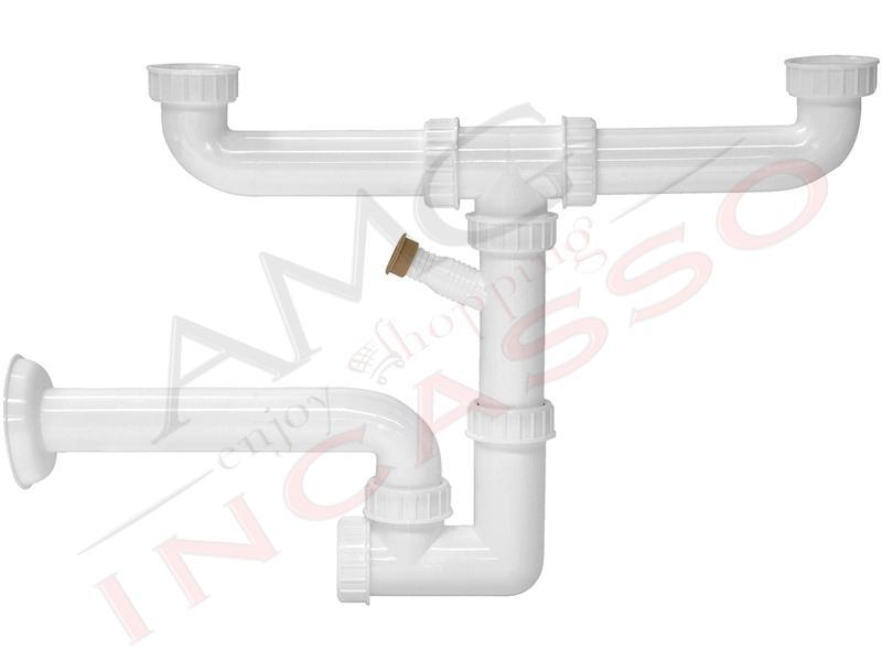 Sifone 2 via ispezionabile lb plast 255 als lavastoviglie lavello cucina incasso ebay - Scarico lavello cucina ...