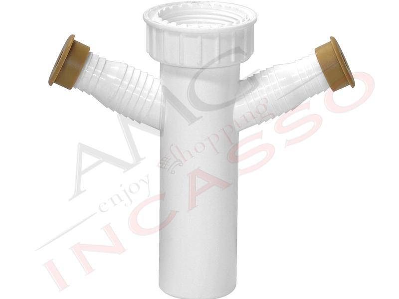 Sifone accessorio l b plast 1067 1064 doppio attacco - Sifone lavello cucina ...