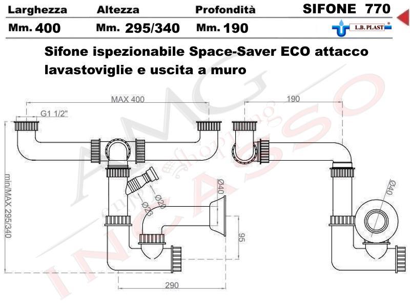 Sifone 2 via ispezionabile space sever l b plast 770 con attacco lavastoviglie e uscita a muro - Scarico lavello cucina ...