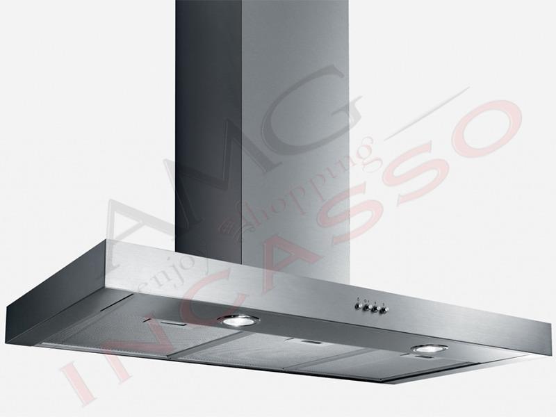cappa a parete 55915393 sofia h10 cm.90 portata 368 m³/h acciaio ... - Cappe Cucina Moderne