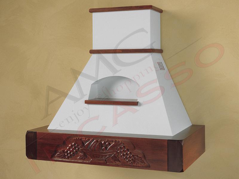 Cappa giorgia cornice legno grezzo lamiera bianca - Cappa cucina bianca ...