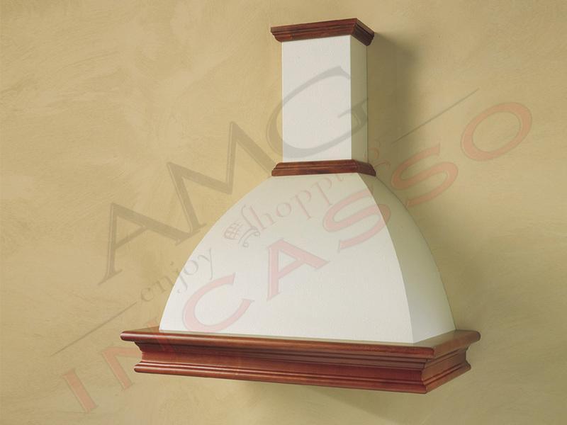 Cappa Ida Cm.60 cornice legno grezzo lamiera bianca/panna | AMG ...