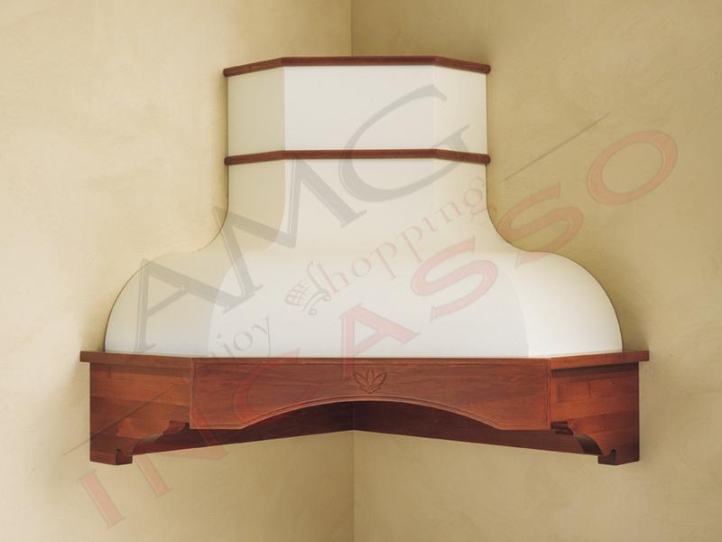 Cappa Rebecca Angolo cornice legno grezza lamiera bianca/panna - AMG ...