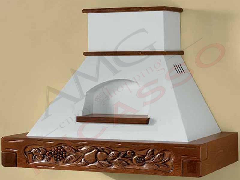 Cappa Sandra Cm.120 cornice legno grezzo lamiera bianca/panna ...