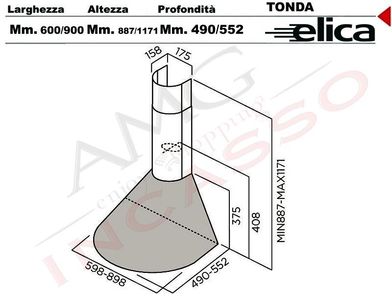 Cappa Elica TONDA IX F/90 cm.90 incasso cucina Acciaio inox ...