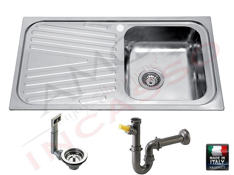Vasca Da Cucina In Acciaio : Lavello r.s.italia orion oi8613 dx incasso cucina acciaio inox sp.08
