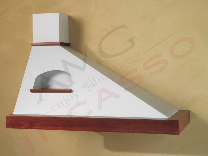 Cappa trapezio g a parete punta a destra compresa cornice legno grezza lamiera bianca o - Cappe filtranti per cucina ...